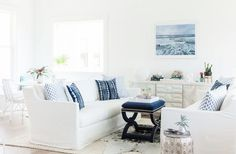 inlet beach house tour living room white couch indigo pillows