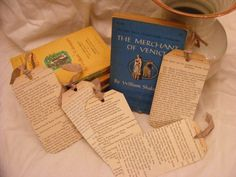 Vintage Shakespeare bookmarks from pages of 1950s editions of his plays