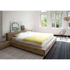 Oak Madra bed - with slats - King size