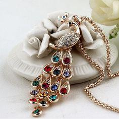 2015 Nouveau!! mode Fine Jewelry Super Éblouissant plaqué Or Strass Coloré Paon Long Collier et Pendentifs Pour Les Femmes N-114