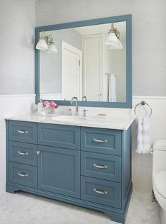 White Marble Hex Tiles with Blue Washstand