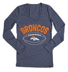 Denver Broncos Womens Navy Tri Blend Shoulder Stripe V Neck T ...
