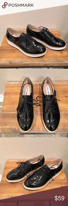 Steve Madden Black Patent Platform Oxfords New with box. Thank you Steve Madden for being so COOL!😎 This style is all the rage at Steve Madden stores, and for good reason.✌🏼 Killer shoes. I wear mine to work with lady boss clothes and on the weekends with boyfriend jeans and a sweater or tee. These are retailing all over SM for $89.00 and up. Happy to bring you this pair for less💋🌹Platform and Black Patent...my favorites🙏 Steve Madden Shoes Platforms