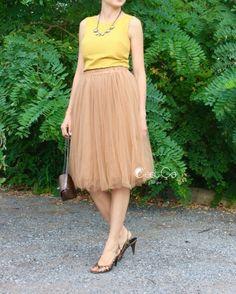 Claire Light Coffee Soft Tulle Skirt - C'est Ça New York