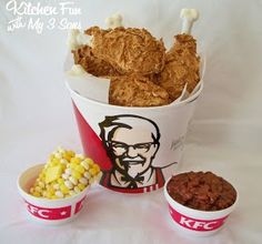 April Fools KFC Kentucky Fried Chicken Bucket and Sides Dessert-making the drumsticks minus the bran flakes for our November Girl Scout meeting-looks like turkey drumsticks! Dessert Recipes, Fun Recipes, Recipies, Family Recipes, Recipe Ideas, Baking Recipes, Chicken Bucket, Kentucky Fried, Recipes