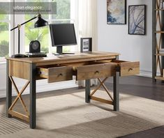 Reclaimed Wood Desk, Wooden Desk, Home Desk, Home Office Desks, Office Spaces, Large Drawers, Desk With Drawers, Muebles Home, Hickory Furniture