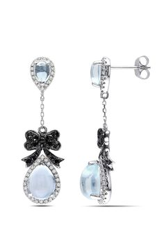From the Vault 0.625 ct Black & White Diamond with Sky Blue Topaz Earrings - Beyond the Rack