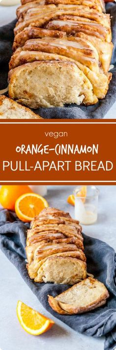 Vegan pull-apart bread that is SO fluffy and perfect, packed with fresh orange flavor, cinnamon, and the BEST sweet orange glaze! Cinnamon Pull Apart Bread, Appetizer Recipes, Dessert Recipes, Muffins, Yeast Bread Recipes, Vegan Bread, Home Baking, Breakfast Items, Bread Rolls