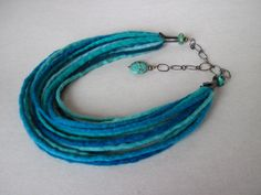 Felted Necklace Shades Turquoise Oxided Silver Felt Strings with Hand Made Silver Chain and Ending Caps with Turquoise