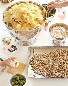 potato chips and dip in silver bowls...kinda love that!