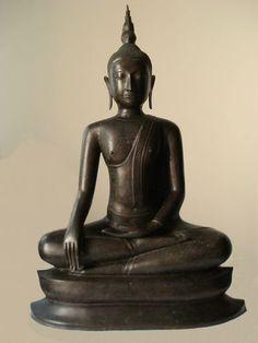 """ANTIQUE BRONZE MEDITATING UTHONG BUDDHA """"C"""" STYLE. LATE 19th"""
