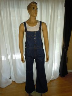 Vintage 70s Mens Bell Bottom  BIB OVERALLS Button by OhUMen, $99.99