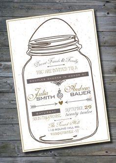 mason jar bridal shower | MASON JAR LOVE Couples Shower/Bridal Shower/ Baby Shower Invitation ...