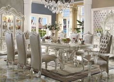 120 Majestic Formal Antique Bone White Dining Table Set