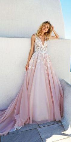 v neck lace appliqués blush skirt wedding dresses eva lendel 2017 bridal collection