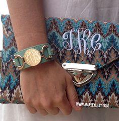 Monogrammed Mint Leather Cuff Bracelet