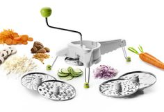 """NOVEDAD """"Molinillo Juliana"""" con 5 discos  Ralla, corta en rodajas y en juliana, patatas, verduras, queso...Es perfecto para ensaladas y sopas.    ...................................................................... NEW Julienne Mill. Includes, 5 Removable discs. It´s very easy To Clean: all parts are dishwasher safe (except discs). Makes great tasting crunchy salad in no time. Grates, slices and in julienne, potatoes, vegetables, cheese...perfect for salads and soups."""