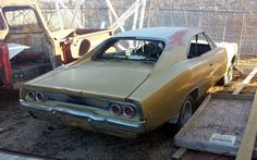 Normally I would advise people to stay away from project cars that are rusty and missing important components like their engines. But, when something like this 1968 Dodge Charger R/T shows up, it can be tempting to break all. Old Race Cars, Old Cars, Dodge Charger 68, Junkyard Cars, Crying Shame, Car Barn, Rusty Cars, Abandoned Cars, Barn Finds