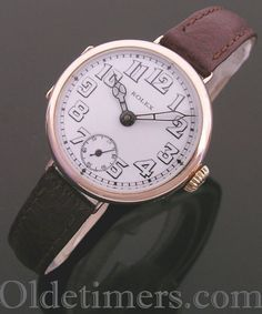 1916 9ct rose gold round vintage Rolex 'Trench' watch (3943)