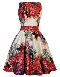Lady V London Red Rose Floral Border Tea Dress