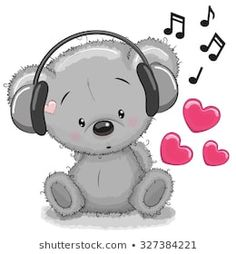 Immagine vettoriale stock 327384221 a tema Cute Cartoon Teddy Bear Headphones (royalty free) Tatty Teddy, Cute Animals Images, Cute Images, Cute Pictures, Clipart Baby, Tier Doodles, Kids Cartoon Characters, Animal Doodles, Cute Teddy Bears