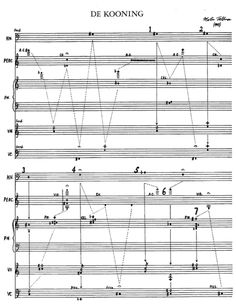 """Morton Feldman, """"De Kooning"""" Hear the piece performed here against a backdrop of Willem De Kooning's work. Sound Art, Sound Of Music, Kinds Of Music, Morton Feldman, Graphic Score, Sheet Music Art, Experimental Music, John Cage, Music Writing"""
