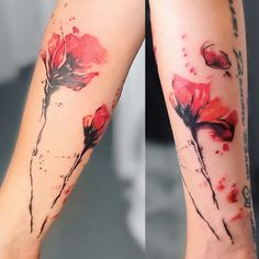 Poppy Tattoo by Sündige Haut Tattoo. Watercolor tattoo poppies. Mohnblumen Aquarelltattoo . Aquarell