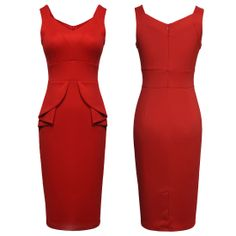 Womens Classcical Elegant Tunic Bodycon Formal Party Dress Features: Intro:      V-neck ,Back Zip, Back bottom Vent, Blade Profile Pucker Design, Sleeveless, Stretch ,Knee length Color:     Red Material:  Cotton, Polyester US SIZE: 4-10 www.apuremall.com