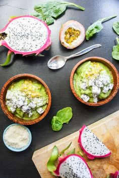 Tropical Green Smoothie Bowl-- tons of flavor, tons of nutrition. Top with any fresh fruit, and have a refreshing breakfast or snack.