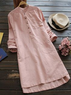 Vintage Dresses Women Long Sleeve Button Pure Color Vintage Shirt Dress at Banggood - Vintage Style Dresses, Casual Dresses, Elegant Dresses, Sexy Dresses, Mini Dresses, Summer Dresses, Formal Dresses, Wedding Dresses, Pretty Dresses