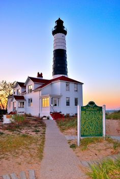 Must go see Big Sable Point Lighthouse - Ludington State Park - Michigan Lighthouse Lighting, Lighthouse Pictures, Ludington State Park, Ludington Michigan, Michigan Travel, Michigan Usa, Lake Michigan, Beacon Of Light, Beautiful Places