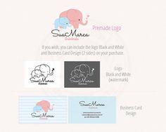 Logo diseño elefante bebé pronto marca por LadyumiDesign en Etsy