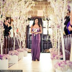 Church aisle transformed for a church wedding... i can so envision this... just not purple
