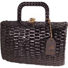 Vintage Black Straw Handbag Purse by Koret