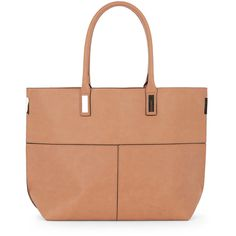 Warehouse T Seamed Shopper Bag ($52) ❤ liked on Polyvore featuring bags, handbags, tote bags, brown, faux-leather handbags, vegan purses, vegan handbags, brown handbags and brown tote