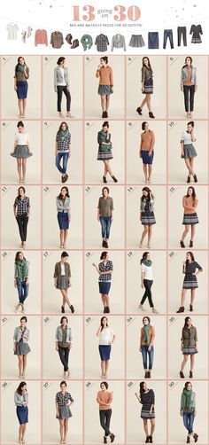 Mix and match 13 pieces for 30 different outfits!