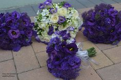 Purple and Ivory hand-tied bouquets