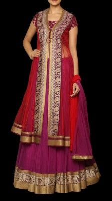 A pink / purple lehnga set in net with a short brocade choli and a net jacket<br />