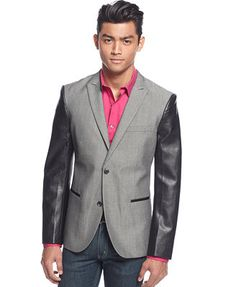 EDGE by WD-NY Faux-Leather-Sleeve Herringbone Blazer