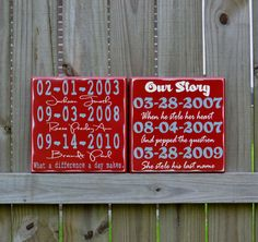 Personalized Wedding Gift, Engagement Gift, Anniversary Gift, Important Date Custom Wood Sign - Double