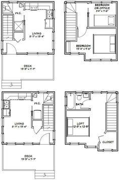 16x16 Tiny Houses PDF Floor Plans 466 sq by ExcellentFloorPlans, $29.99