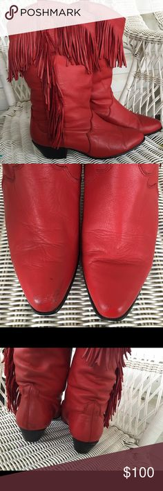 Vintage red fringe boots These unique red leather baby's r from the 80's by the brand Dingo a few scuffs as seen in photos in good condition beautiful boots very hard to find Dingo Shoes Heeled Boots