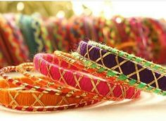 Thread wrapped handmade bangles with gold tilla   For more designs, like my facebook page  Rainbow Dazzle Gota Jewellery  https://www.facebook.com/pages/Rainbow-Dazzle/461994940500930