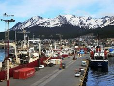 The city of Ushuaia seen from the harbour.