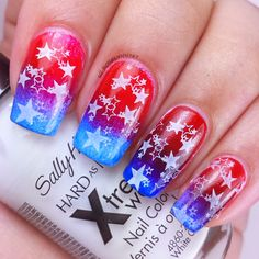 Star stamps over red and blue gradient for Fourth of July. Full details on this mani and how I created it can be found on my blog ManicuredandMarvelous.com   #nails #nailart #naildesign #cutenails #fourthofjuly #stamping #gradient