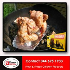"""Planning on watching the Rugby this afternoon? Then Karoo Kuikens has just the way to enjoy cooking and watching at the same time. Try our """"Beer Bird Braai"""". 2 birds with one fire method of cooking a great Chicken. Beer Can Chicken, Canned Chicken, Frozen Chicken, Small Bbq, Outdoor Cooking, Barbecue, Fresh, Canning, Meat"""