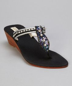 Take a look at this Black Chrystal Thong Sandal by la pomme on #zulily today!