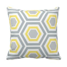 Modern Hexagon Pattern Pillow | Yellow Gray
