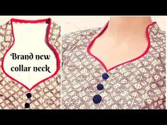 Easy Half Collar Neck Cutting and Stitching /हॉफ कॉलर बनाने का आसान तरीका Chudidhar Neck Designs, Neck Designs For Suits, Neckline Designs, Blouse Neck Designs, Sleeve Designs, Salwar Suit Neck Designs, Kurta Neck Design, Kurta Designs Women, Collar Pattern