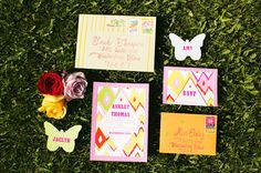 bold colors for these whimsical garden party invites